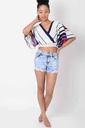 Stylish Crochet Trim Denim Shorts