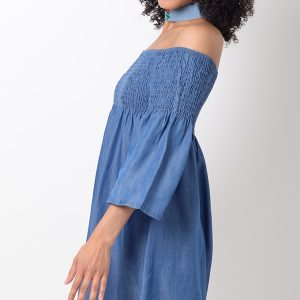 Stylish Denim Bardot Shift Dress