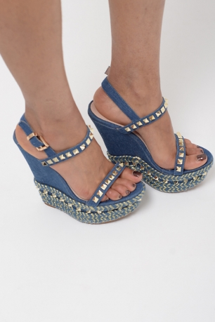 Stylish Denim Espadrilles Wedge Sandals