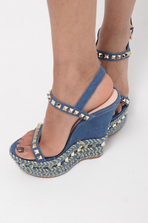 Stylish Denim Espadrilles Wedge Sandals