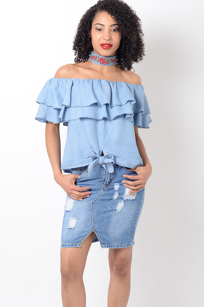 b079604a28c Stylish Denim Frill Bardot Top | Stylish Tops, Bardot Tops, Denim Tops