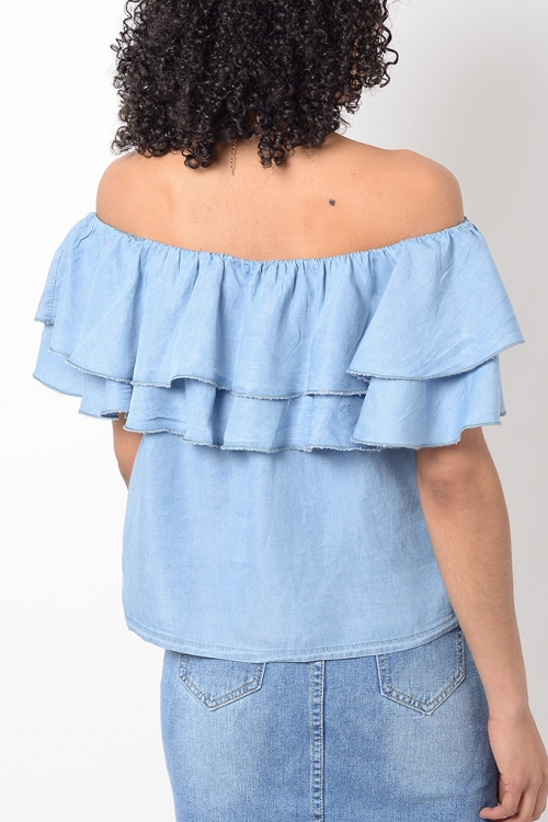 Stylish Denim Frill Bardot Top