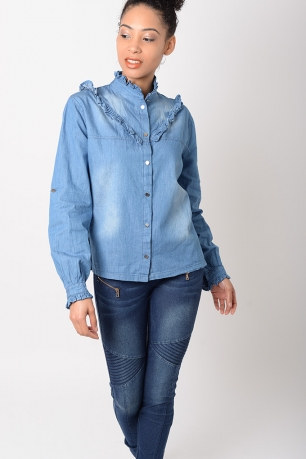 Stylish Denim Frill Shirt