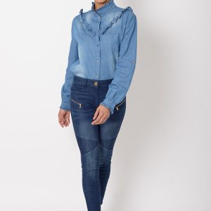 Stylish Denim Frill Shirt