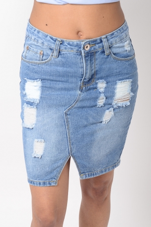 Stylish Distressed Denim Skirt