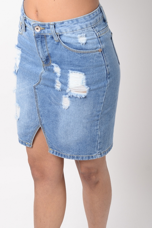 Stylish Distressed Denim Skirt