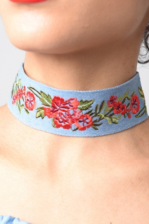 Stylish Embroidered Denim Choker