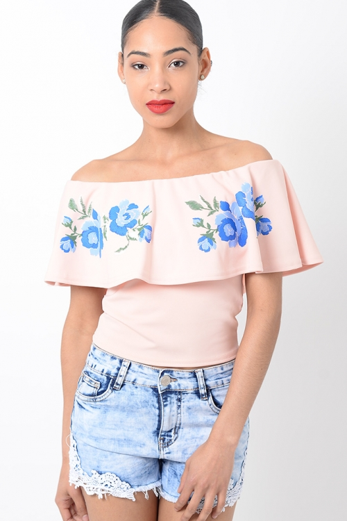 Stylish Embroidered Off The Shoulder Top