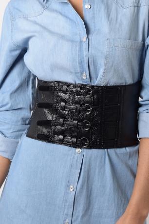 Stylish Faux Leather Corset Belt