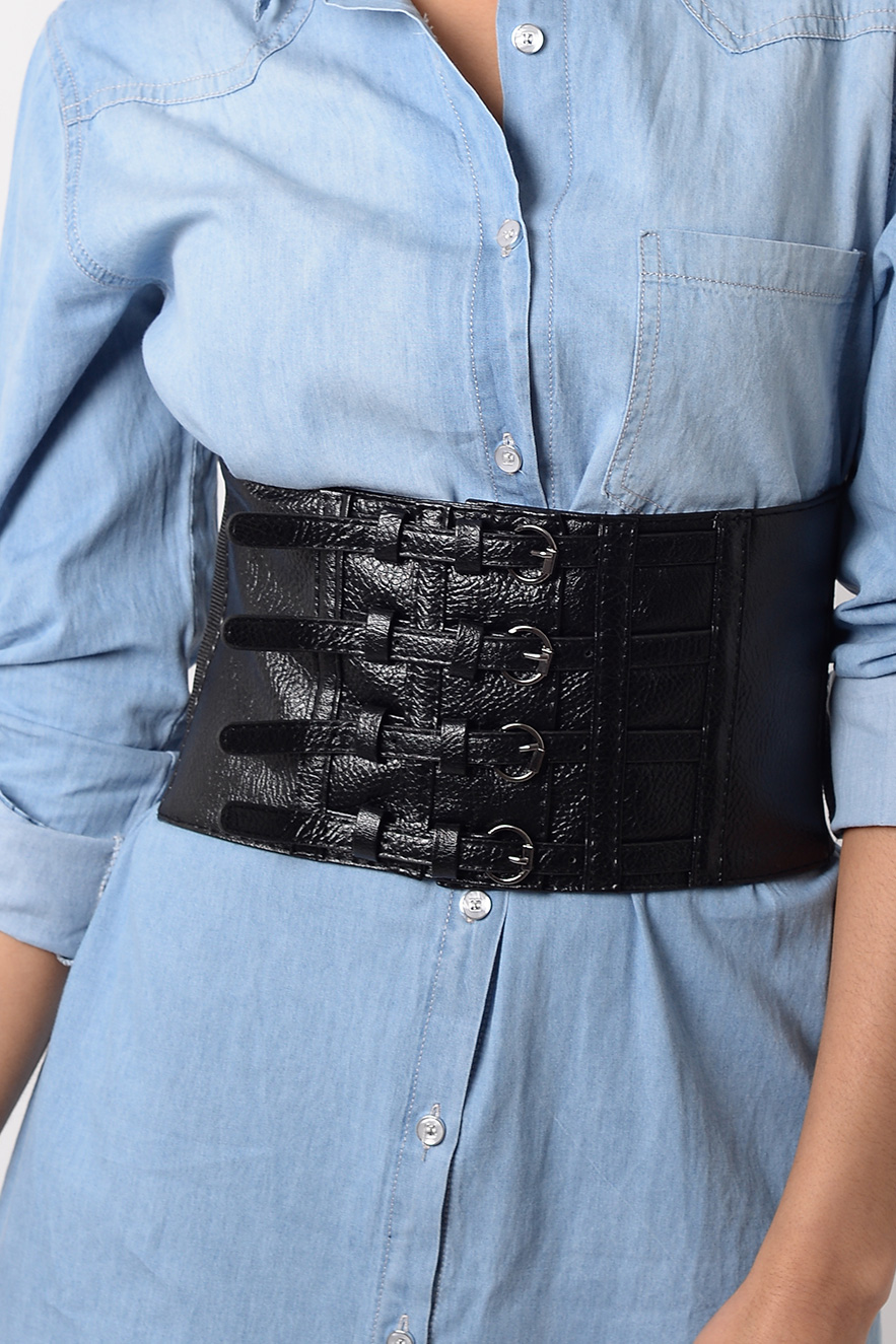 Stylish Faux Leather Corset Belt Corset Belt Black Belt