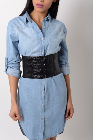 Stylish Faux Leather Corset Belt
