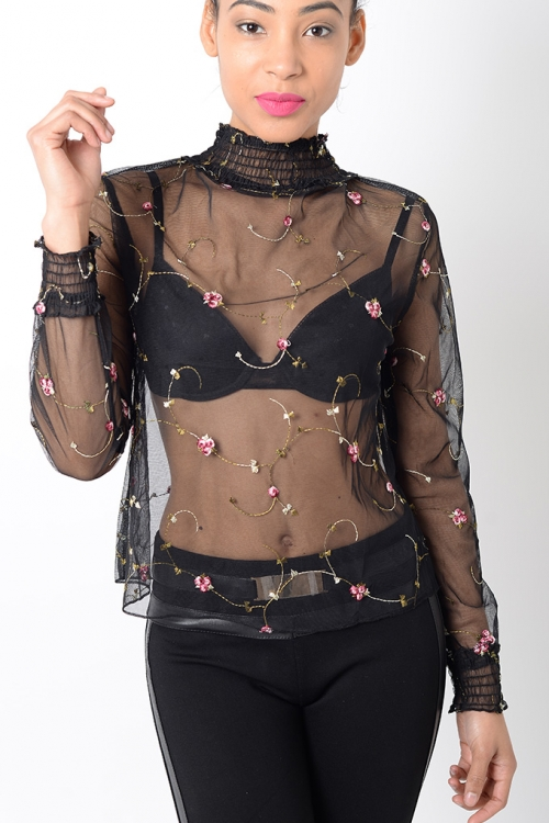 Stylish Floral Sheer Top