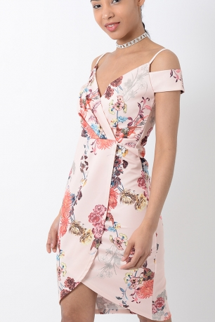 Stylish Floral Wrap Dress