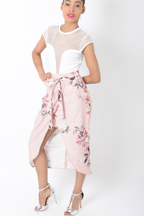Stylish Floral Wrap Skirt