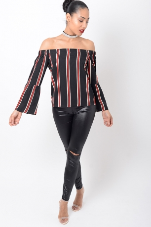 Stylish Frill Sleeve Striped Top
