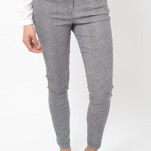 Stylish Gingham Skinny Black Trousers
