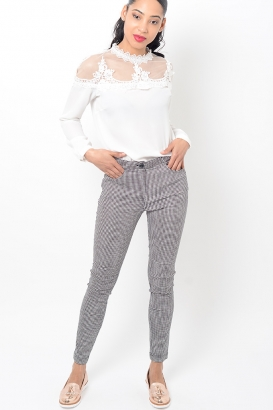 Stylish Gingham Skinny Black Trousers