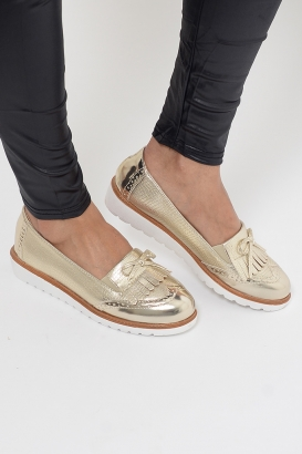Stylish Gold Tassel Loafers