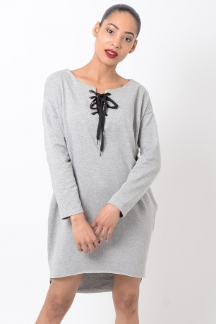 Stylish Grey Long Sleeve Lace Up Front Dress
