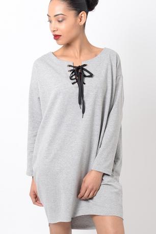 Stylish Grey Long Sleeve Lace Up Front Dress