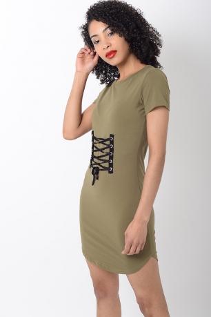 Stylish Khaki Lace Up T shirt Dress