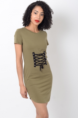 Stylish Khaki Lace Up T shirt Dress