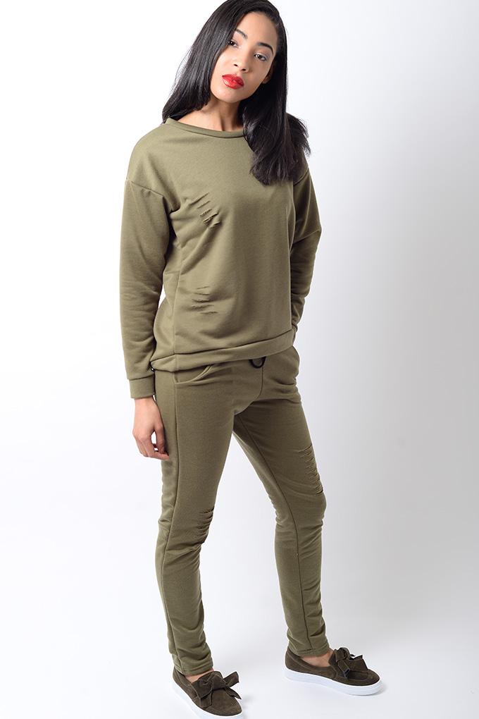 Stylish Khaki Ripped Detail Tracksuit Stylish Outfits