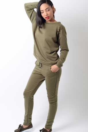 Stylish Khaki Ripped Detail Tracksuit