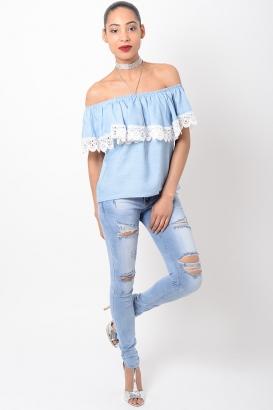 Stylish Lace Detail Bardot Top