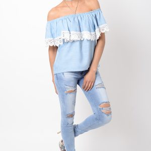 Stylish Lace Detail Bardot Top