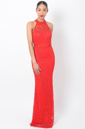 Stylish Lace Red Maxi Dress