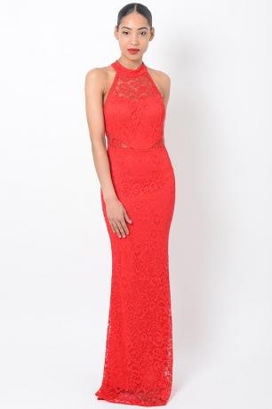 Stylish Lace Red Maxi Dress