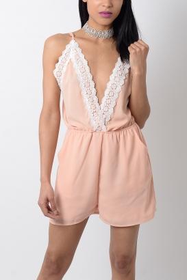 Stylish Lace Trim Playsuit