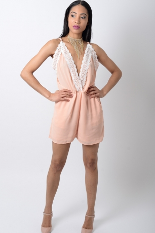 Stylish Lace Trim Playsuit