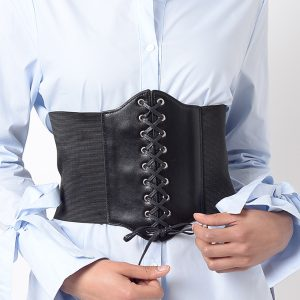 Stylish Black Lace Up Corset Belt
