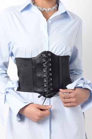Stylish Black Lace Up Corset Belt