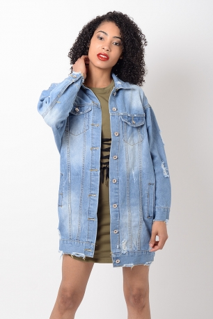Stylish Light Blue Distressed Oversized Denim Jacket