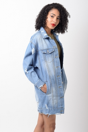 Stylish Light Blue Distressed Denim Jacket