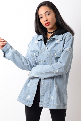Stylish Lightwash Distressed Oversized Denim Jacket