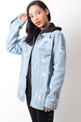 Stylish Lightwash Distressed Oversized Denim Jacket