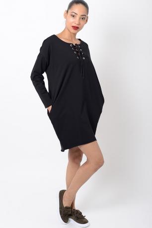 Stylish Long Sleeve Lace Up Front Dress