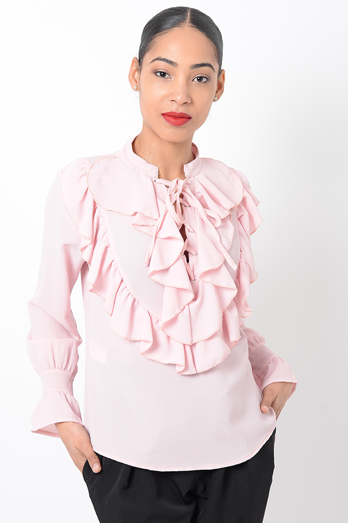 Stylish Tops Collection 2013 For Girls: Stylish Long Sleeve Ruffle Top