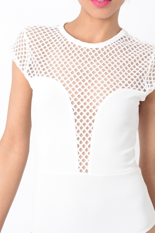 Stylish Mesh White Bodysuit