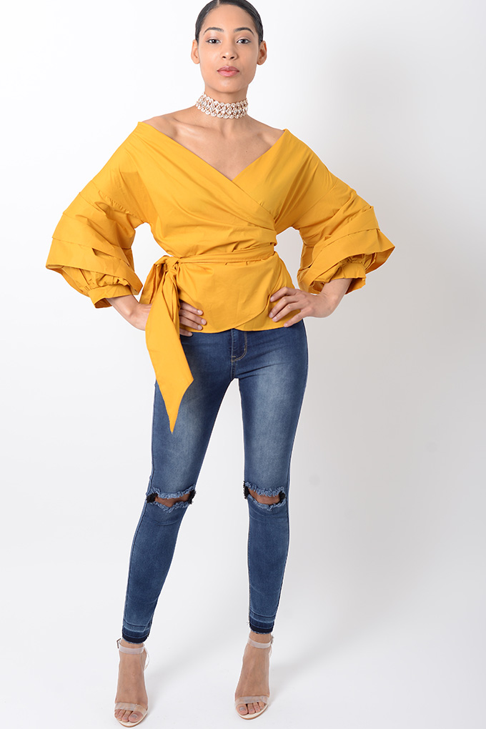 eae8100f1460d Stylish Mustard Ruffle Sleeve Wrap Top