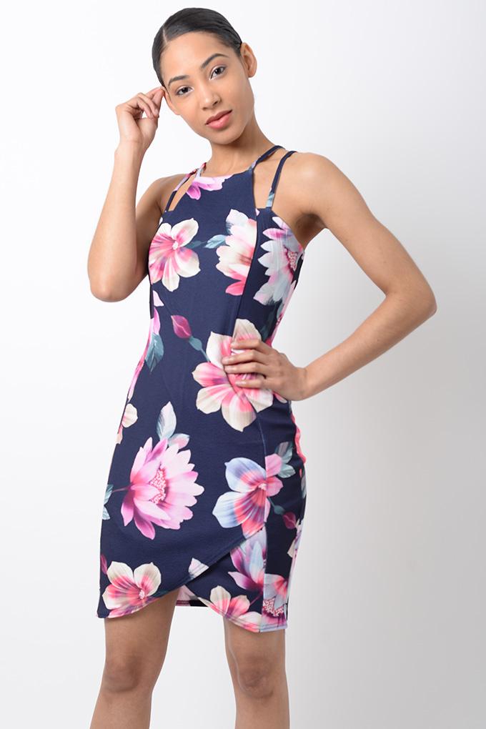 Stylish Navy Blue Floral Print Bodycon Dress Stylish