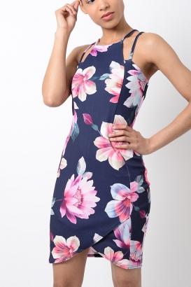 Stylish Navy Blue Floral Print Bodycon Dress