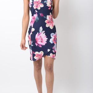 Stylish Navy Blue Floral Print Bodycon Dress