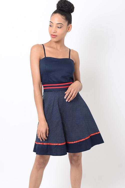 Stylish Navy Skater Dress