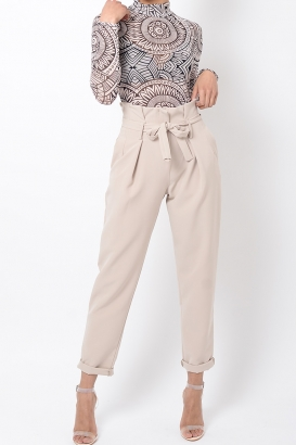 Stylish Nude High Waisted Peg Trousers