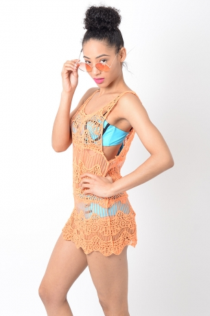 Stylish Orange Crochet Beach Cover Up